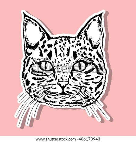Cat. Portrait of a cat. cat's head. Cute cat. Animal. A pet. Line art. Black and white drawing by hand. Graphic arts. Tattoo. Decorative. Stylized. - stock vector