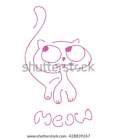 Cat print,cat graphic,cat illustration,canvas print,cat pattern,cat design,cat graphic,cat wallpaper,adorable cat,Funny cat,T-shirt Print,i love you,animal print,pink cat,cat vector - stock vector
