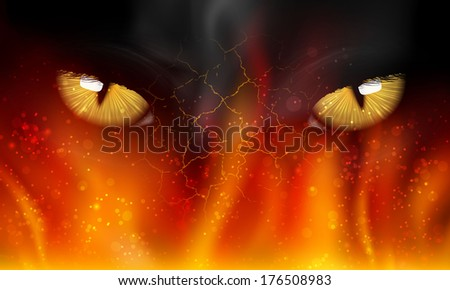 cat's eyes on fire - stock vector
