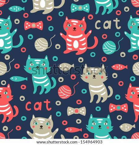 cat seamless pattern  - stock vector
