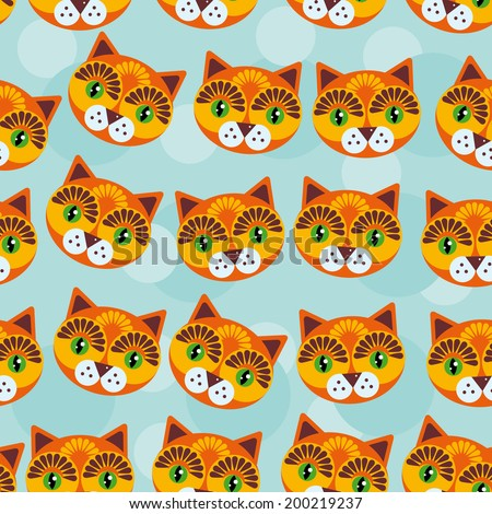 Cat Seamless pattern with funny cute animal face on a blue background. Vector - stock vector