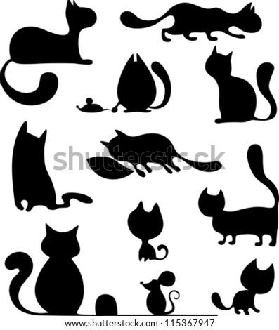 cat set - stock vector