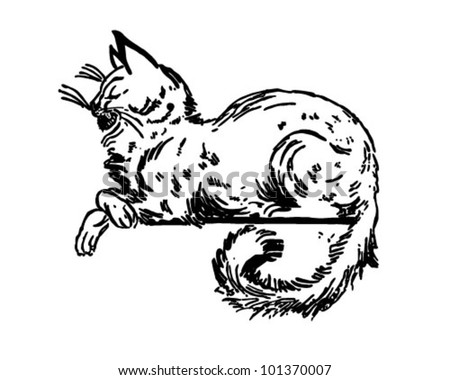 Cat Sitting On Ledge - Retro Clipart Illustration - stock vector