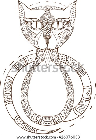 Cat sitting zentangle stylized, vector, illustration, pattern, freehand pencil, hand drawn. Zen art doodle style - stock vector