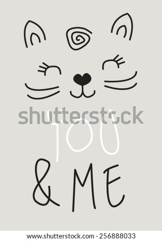 cat / T-shirt graphics / cute cartoon characters / cute graphics for kids / Book illustrations / textile graphic / Sweet Kitty Face Little Girls Graphic Tee / - stock vector