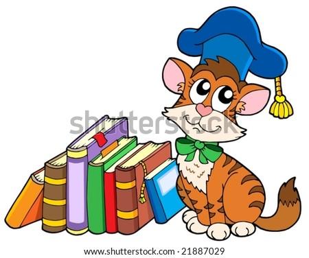 Cat teacher with books - vector illustration. - stock vector