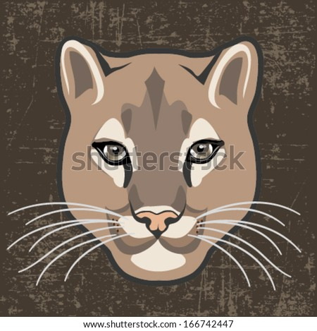 CAT, WILD CAT, COUGAR HEAD VECTOR ILLUSTRATION - stock vector