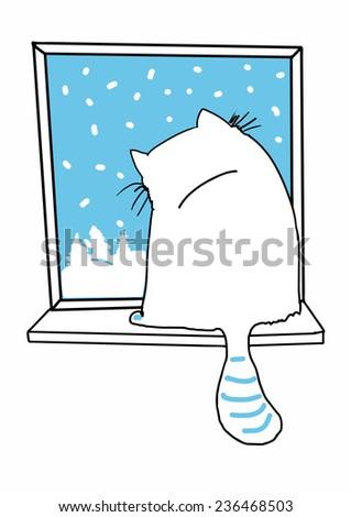 cat winter vector - stock vector