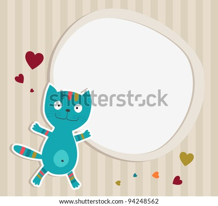 Cat with frame. Card. Vector illustration - stock vector