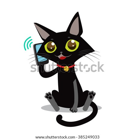 Cat With Phone Vector. Sociable Cat Vector Picture. Vector Black Cat. Calling Cat Vector. Calling Kitten Picture. - stock vector