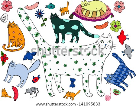Cat world 2. Hand drawn illustration. - stock vector