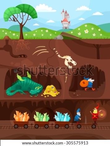 catacomb world - stock vector