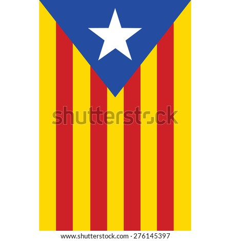 Catalonia flag vector isolated. Red, yellow and blue with white star. Autonomy. Spain. - stock vector