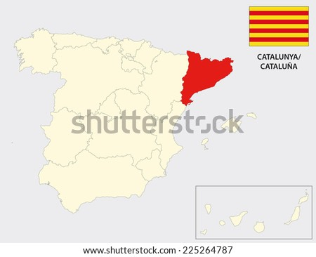 catalonia map with flag - stock vector