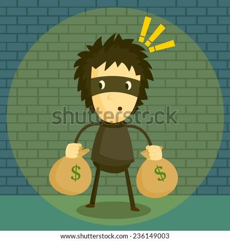 catching burglar - stock vector