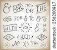 Catchwords design elements set. at, to, for, the, of, with, by, and, from - stock vector