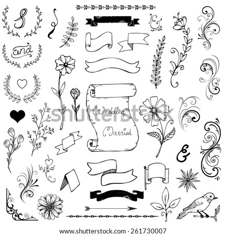 Catchwords, ribbons, ampersands design elements set isolated on white - stock vector