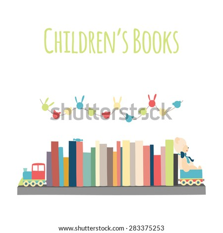 "Category for a bookstore or library. Bookshelves  ""Children's Books"".  - stock vector"