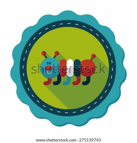 Caterpillar flat icon with long shadow,eps10 - stock vector