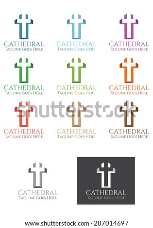 Cathedral logo vector template, a vector template represents both a cathedral plant and a Christian cross, usable for business related to religion, charity, etc. - stock vector