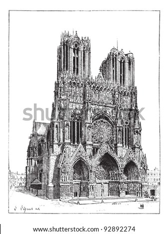 Cathedral of Reims, France, vintage engraved illustration. Dictionary of words and things - Larive and Fleury - 1895. - stock vector