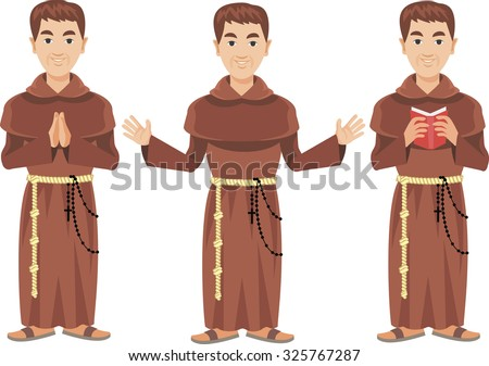 catholic monk Franciscan - stock vector