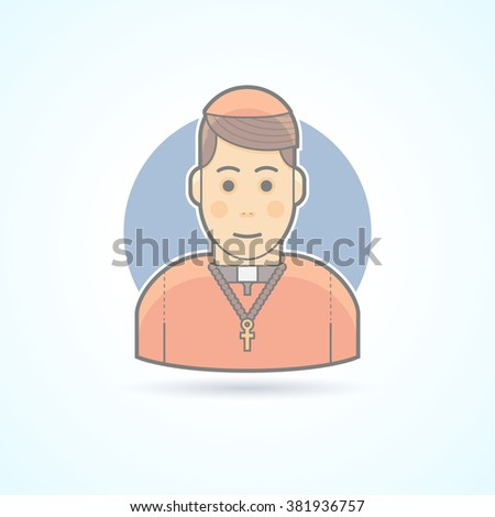 Catholic priest, clergyman in a cassock icon. Avatar and person vector  illustration. Flat colored outlined style. - stock vector