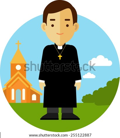 Catholic priest man in cassock on church background in flat style - stock vector