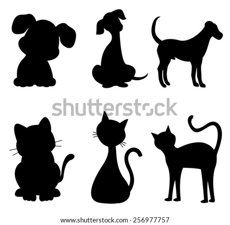 Cats and dogs silhouette black specially for pet clinic logos  - stock vector