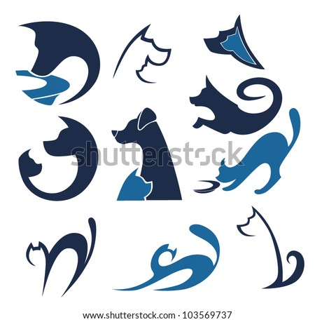 cats and dogs, vector pets collection - stock vector