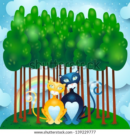 Cats and woods, vector - stock vector