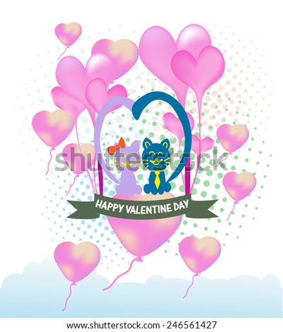 Cats cartoon Illustration of a Valentines Day - stock vector