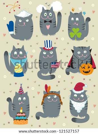 Cats Celebrating Holidays - stock vector