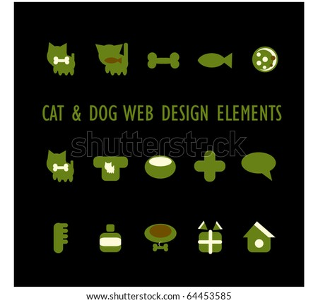 Cats, dogs and other pets and accessories icons - stock vector
