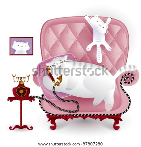 cats family in armchair - stock vector