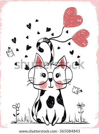 cats illustration , T-shirt graphics / textile graphic - stock vector
