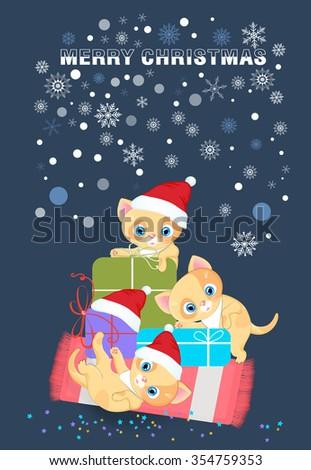 Cats in Santa hat ,joy on Christmas. - stock vector