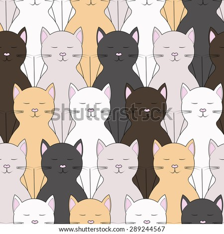 Cats seamless background - stock vector