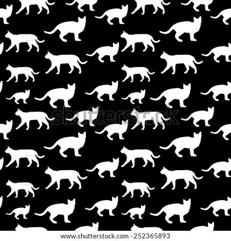 Cats Seamless Pattern design - stock vector