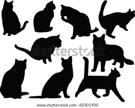 cats silhouette collection - vector - stock vector