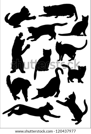Cats silhouettes  collection. - stock vector