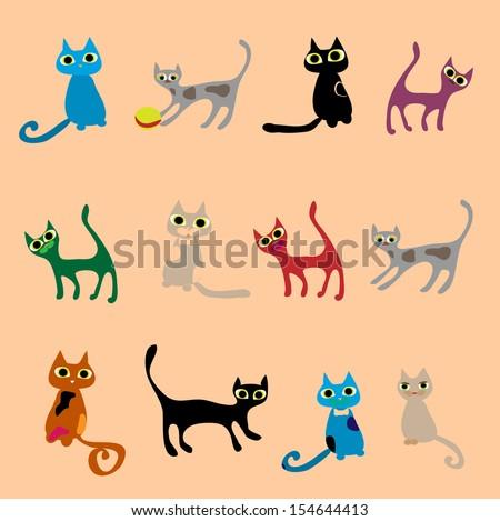 Cats. Vector set in gentle tones. - stock vector