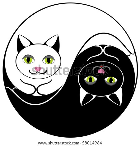 Cats ying yang symbol of harmony and balance - stock vector