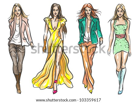 Catwalk fashion models colored - sketch style vector illustration. - stock vector