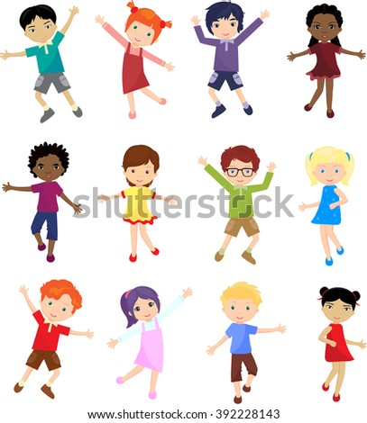 Caucasian, african, chinese, japanese and other multinational boys and girls jump, laugh and dance together - stock vector