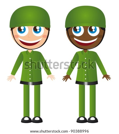 caucasian and african soldiers cartoons vector illustration - stock vector