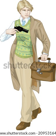 Caucasian boy with a gun retro styled cartoon character with colored lineart - stock vector