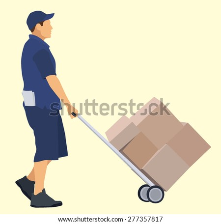 Caucasian delivery man with hand truck - stock vector