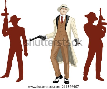 Caucasian mafioso godfather with a gun and armed crew silhouettes retro styled cartoon character with colored lineart - stock vector
