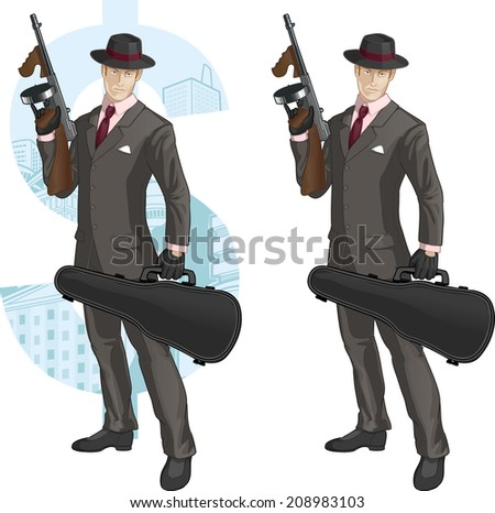 Caucasian mafioso retro styled cartoon character with colored lineart - stock vector